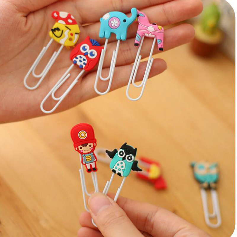 20pcs lot Cute Creative Silicone Cartoon Design Metal Paper Clip DIY Multifunction Bookmark Office School Supplies Free Shipping in Bookmark from Office School Supplies