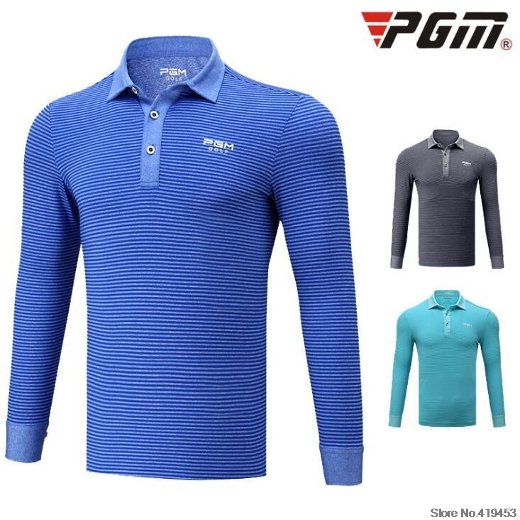 PGM autumn winter Outdoors golf sportswear men\`s striped long-sleeved button collar T-shirt breathable Turn-down Collar golf POLO shirt