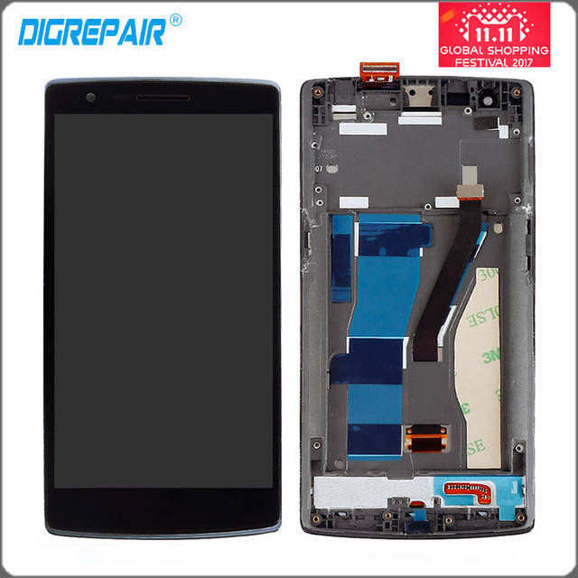 black LCD display touch screen with digitizer full Assembly repair parts with frame For oneplus one plus 1+ A0001