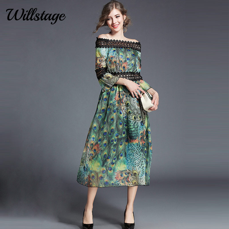 Willstage Lace Chiffon Dress Flare Sleeve Blue Rose Peacock Feather Printed Dresses Women Elegant Party New 2018 Spring Vestidos