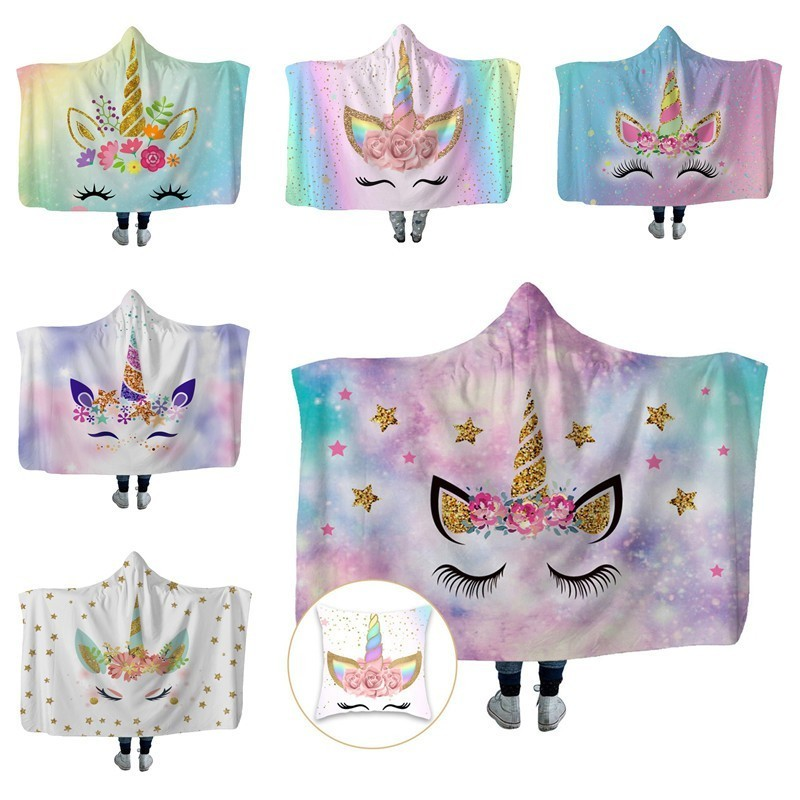 Sofa Throw Hooded Blanket Champagne Flower Unicorn 3D Printed Plush Warm Wearable Fleece Hoodie Blanket Cushion Cover Free Gift