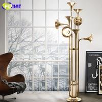 FUMAT Floor Lamps Art Horn Floor Light Fixture Modern Foyer Stand Light Retro Metal Poti Trumpet Floor Lamp Gold