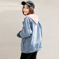 2018 Spring Autumn Women Bf Basic Denim Jacket Long Sleeve Loose Female Jeans Coat Casual Vintage