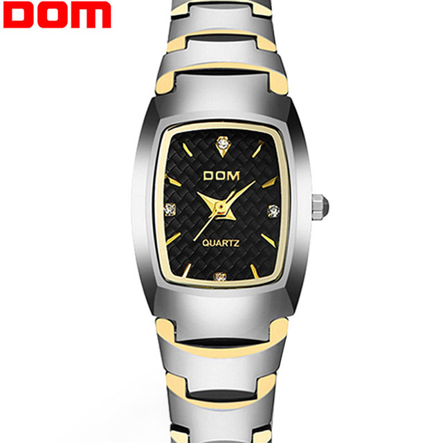 Top High Quality Tungsten Steel watch Women Ladies Fashion Dress Quartz Wristwatches DOM brand luxury Watch relojes mujer clock