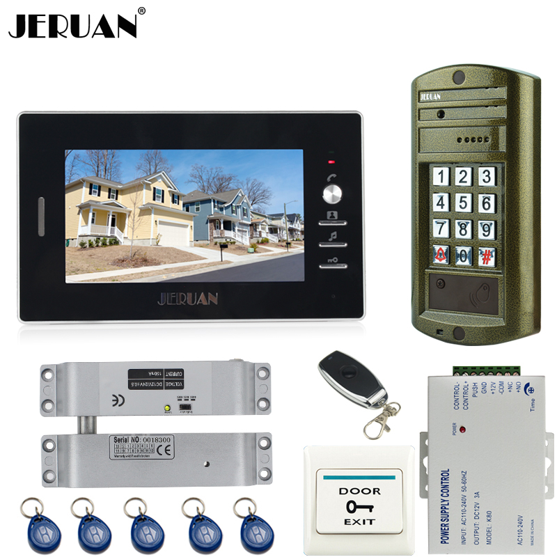JERUAN NEW 7 inch LCD video door phone intercom system kit Metal waterproof Access password keypad HD Mini Camera + E-Lock jeruan 8 inch tft video door phone record intercom system new rfid waterproof touch key password keypad camera 8g sd card e lock