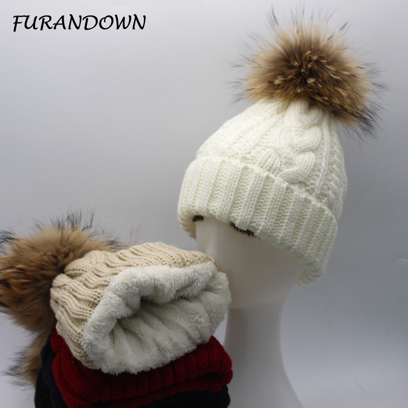 FURANDOWN 2017 New Womens Warm Fleece Inside Beanie Hats Winter Mink Raccoon Fur Pompom Hat Female