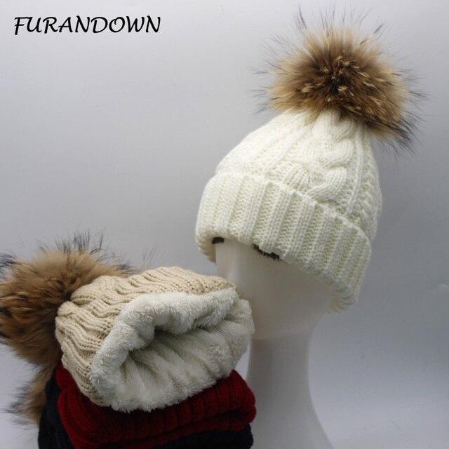 FURANDOWN 2017 New Womens Warm Fleece Inside Beanie Hats Winter Mink Raccoon Fur Pompom Hat Female Cap