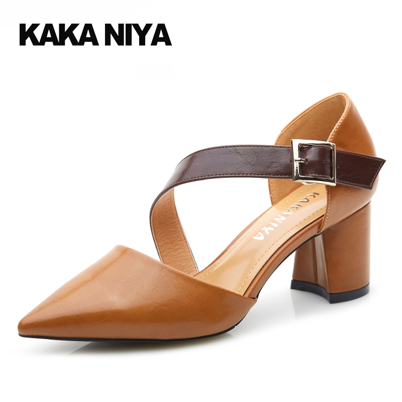 7cm 3 Inch Brown 4 34 Small Size Pointed Toe Sandals Chunky 2017 Women Pumps High Heels Retro Strap Shoes Chic Hasp Shallow pointed toe dress shoes ladies pumps high heels ankle strap footwear 4 34 small size crystal stiletto 2017 7cm 3 inch silver