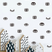 24 pcs Cute eyelash pattern Wall decal removable Vinyl Stickers For Kids Room Lovely Sleepy Eyes Baby Nursery  A10-012