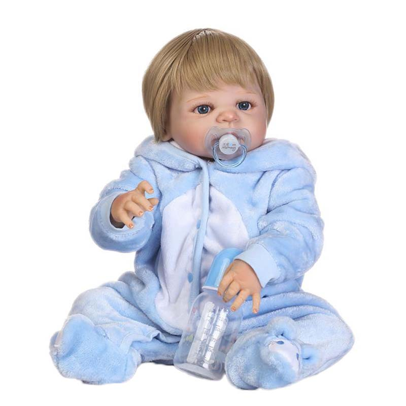 Handmade 23 Silicone Baby Boy Dolls Realistic Vinyl Reborn Dolls Alive 57cm Baby Doll with Blue Cloth Educational Toys Gifts