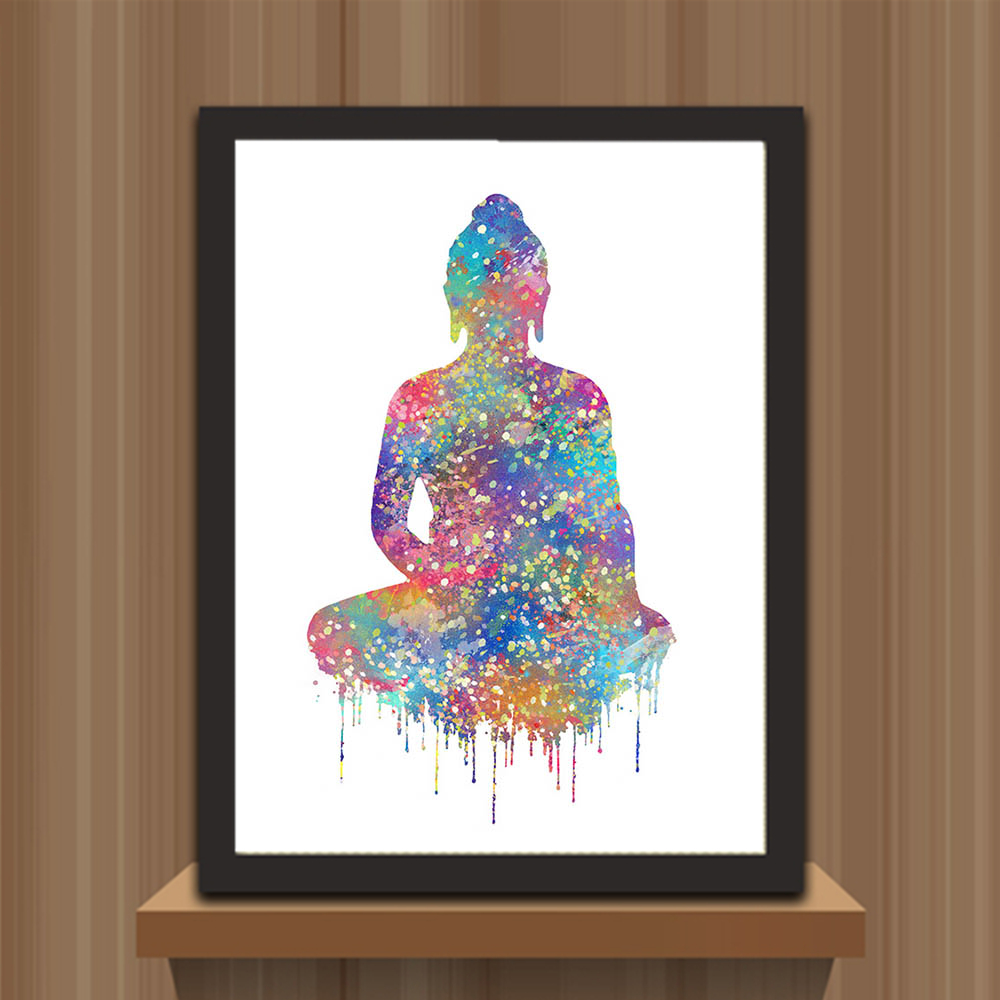 Watercolor art prints poster abstract wall pictures buddha for Home decor zen