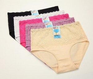 Image 1 - 4 יחידות/גדול גודל נשים סקסי תחרה תחתוני חלקה כותנה לנשימה תחתונים חלול תחתוני ילדה תחתונים סקסיים XXXL 4XL 5XL