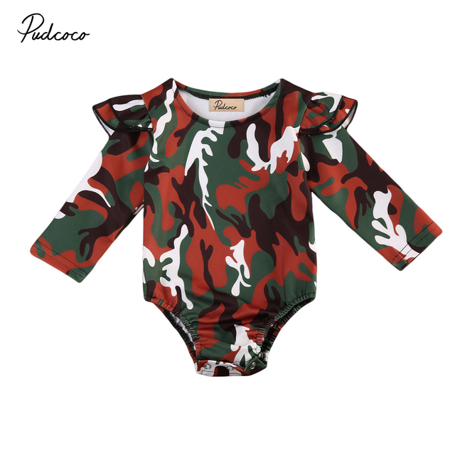 ef98ee678 camouflage baby clothing fashion infant baby girl camo romper long ...