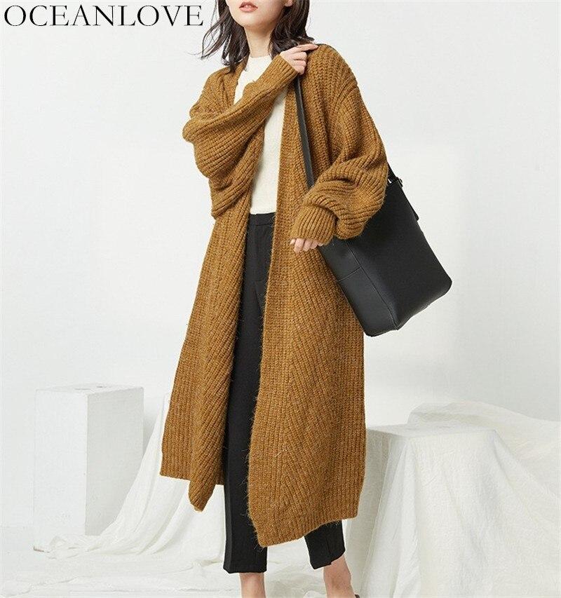 OCEANLOVE sólido grueso punto Cardigan cuello en V de manga larga caliente Casual ropa de invierno nuevo Chic coreano moda mujer suéter 10411-in Caquetas de punto from Ropa de mujer    1