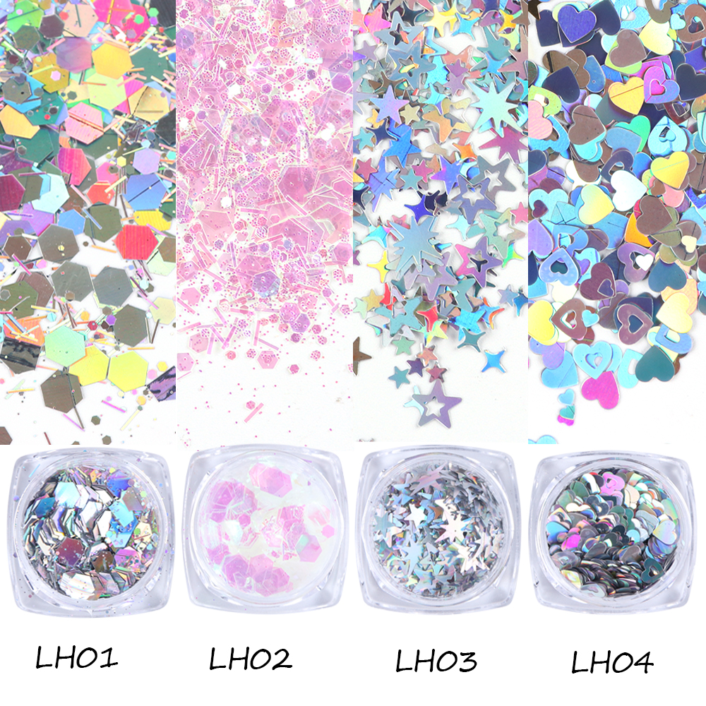 1 Bottle Mixed Laser Colorful Sequins Nail Glitter Thin Metal Hexagon Star Heart Flakes Nail art Manicure Decor LALH01-04 (1-1)