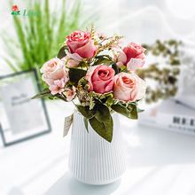 42cm/16.53in Rose Pink Silk Peony Artificial Flowers Bouquet 6 Big Head 3 Bud  Fake for Home Wedding Decoration Indoor
