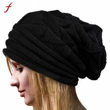 Feitong Women Winter Warm Hats Knit Turban Twist Hair Wrap Solid Casual Skullies& Beanies Hat Cap Knit Turban