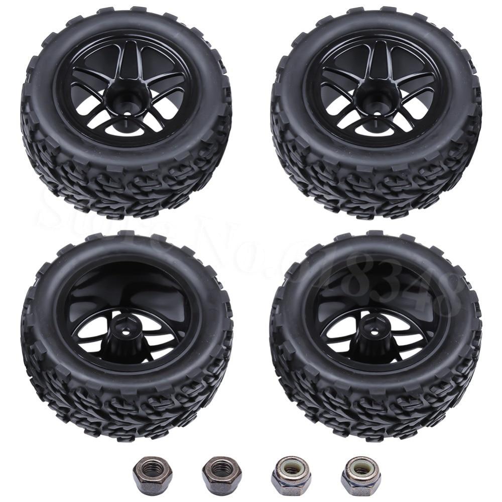 4Pcs रबर आरसी कार टायर और - रिमोट कंट्रोल के साथ खिलौने