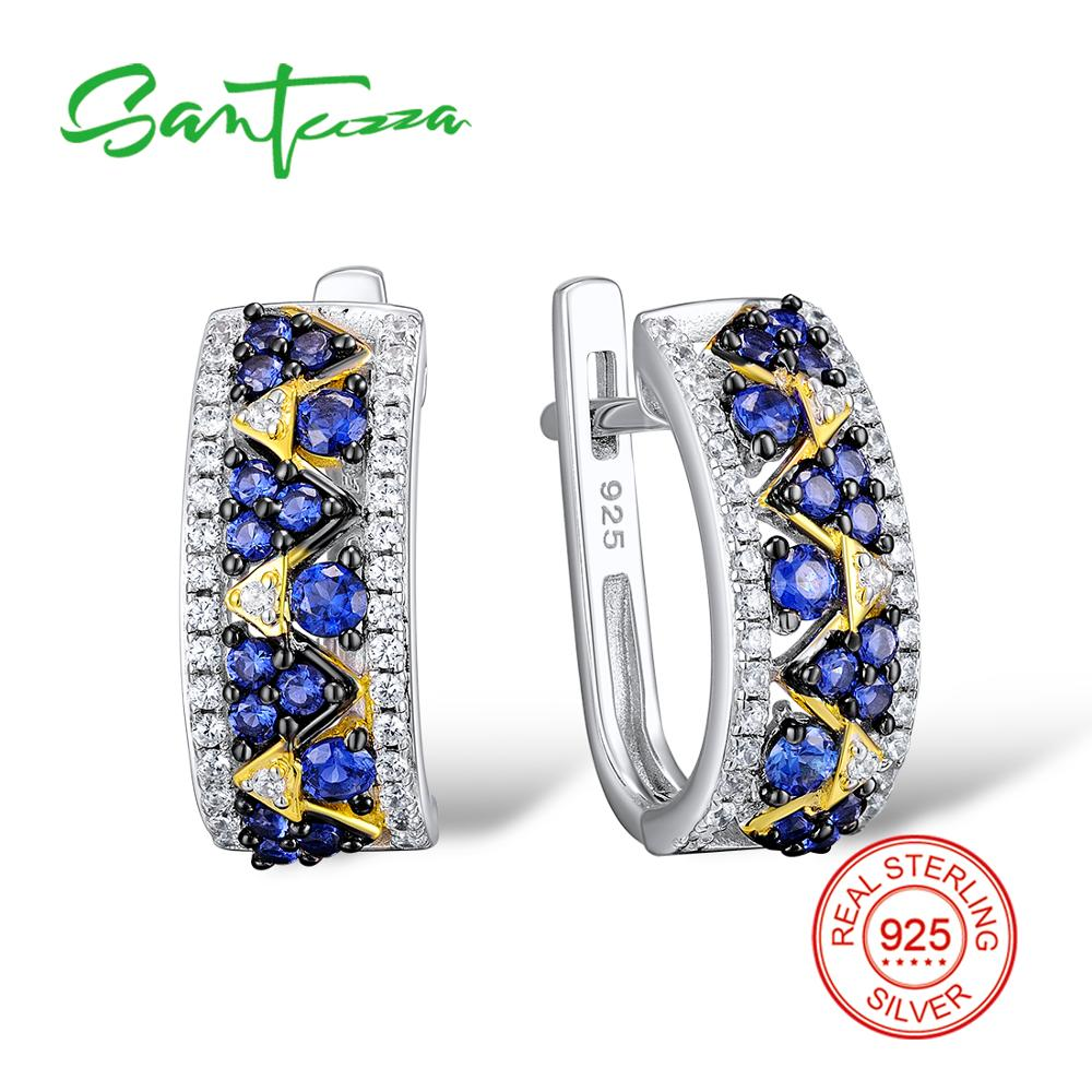 Santuzza Silver Stud Earrings for Women Blue Nano Cubic Zirconia Stones Ladies Pure 925 Sterling Silver