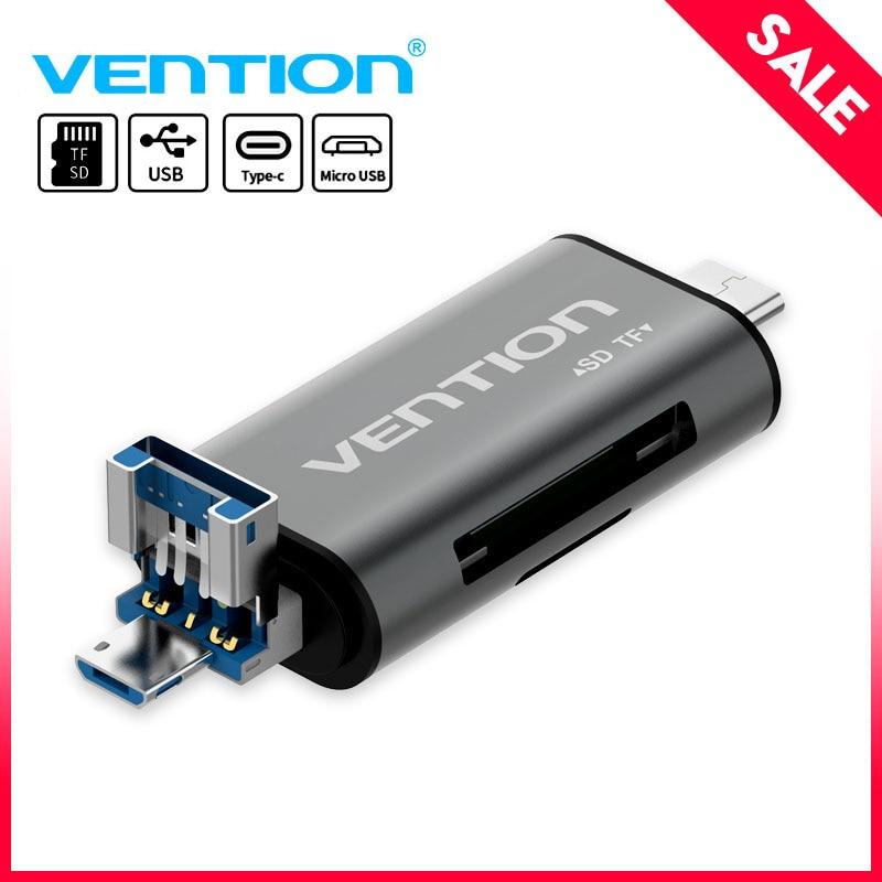 Adaptador de lector de tarjeta Micro SD de Vention tipo C Micro USB SD adaptador de tarjeta de memoria para MacBook portátil USB 3,0 SD/TF OTG lector de tarjetas