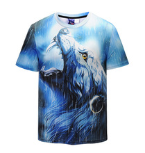 New creative domineering totem 3D printing of the wolf's head T-shirt tide street card European men's clothing code