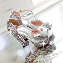 2014 Summer new lady Luxury Glitter Sexy High Heels Sandals Platform Peep Toe sandals T-Strap Square Thick Heel wedding Shoes