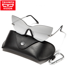TRIUMPH VISION Cat Eye Black Sunglasses Women 2017 New Rimless Oculos Luxury Brand Designer Sun Glasses For Women Mirror Lunette