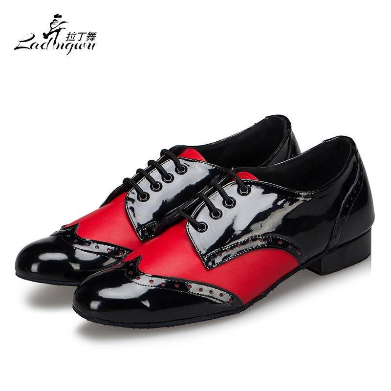 Ladingwu New Modern Men's Soft Bottom Latin Dance Shoes White/Red/Black PU Ballroom Waltz Samba Dance Shoes Heel 2.5/4.5cm