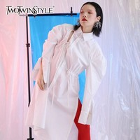 TWOTWINSTYLE Hole Blouses Draw String Lapel Collar Puff Sleeve White Long Women S Shirt 2018 Spring