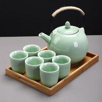 TANGPIN grande capacidade celadon conjuntos de chá bule de cerâmica com dois filtros de aço inoxidável xícara de chá chinês do kung fu jogo de chá