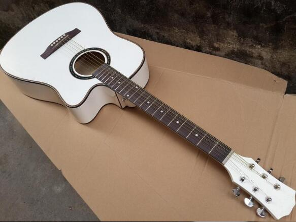 White Color Acoustic Guitar With Equalizer 41inch In Guitar From
