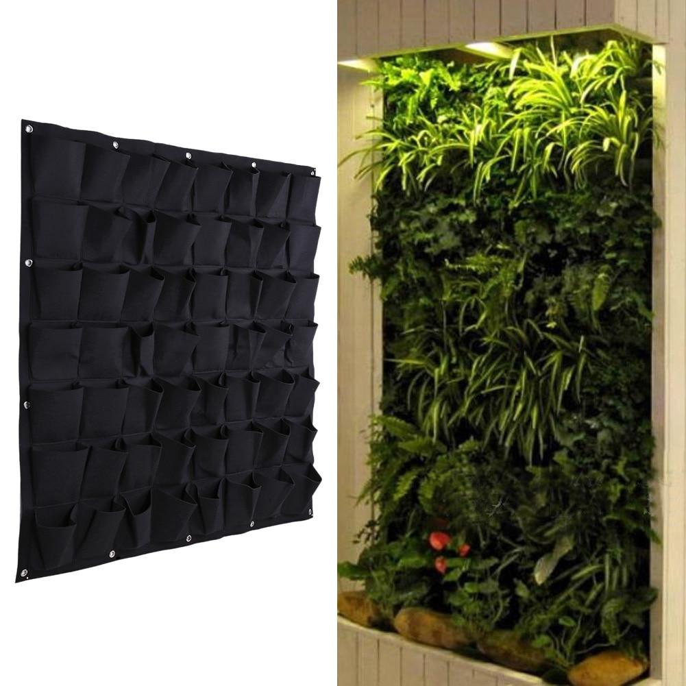 Us 22 3 15 Off 1 Pcs 56 Pocket Flowerpot Indoor Outdoor Wall Hanging Planter Vertical Felt Garden Plant Grow Container Bag 100 100cm In Grow Bags