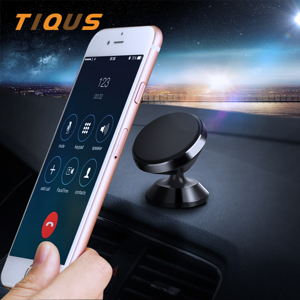 TIQUS 360 Degree Universal Car Holder Magnetic Mobile Phone Holder Metal Magnet Mount Holder for iPhone Samsung Smart Phone