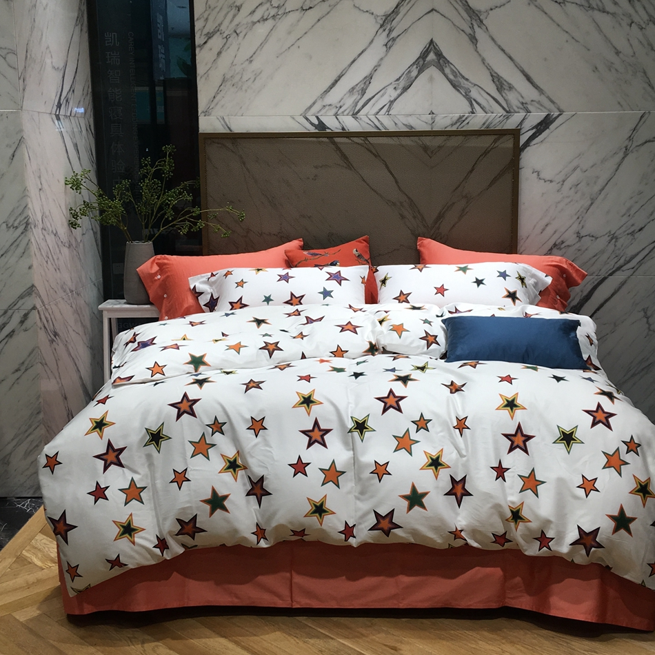 modern bed sheets promotionshop for promotional modern bed sheets  - colorful stars designer bedding set king queen size  soft egyptiancotton duvet cover bed sheet bedding pillowcases modern