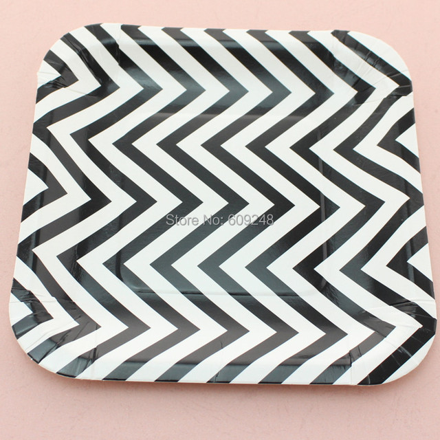 24pcs 7\  Black Chevron Dessert Paper PlatesCompostable Sustainable Square Halloween Party Dishes Holiday & 24pcs 7\