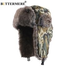 цены BUTTERMERE Russian Hat With Earflaps Bomber Hats Men Camouflage Cap Fur Women Biker Thicker Warm Snow Casual Winter Hat Ushanka