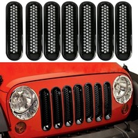 7PCS Black ABS Mesh Front Insert Grille Trim Cover Without Lock Hole For Jeep Wrangler JK