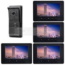DIYSECUR 800×480 7 pulgadas de Video Teléfono de La Puerta Timbre de la Puerta de Vídeo Cáscara Del Metal LED Color de la Visión Nocturna de la Cámara de intercomunicación 4 Monitores negro