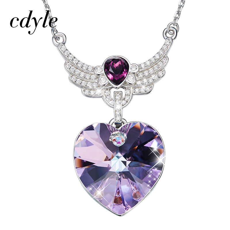 Cdyle Angel Wings Pendant Necklaces For Women Purple Blue Crystals from Swarovski Necklace Fashion Jewelry Gifts Heart Necklace