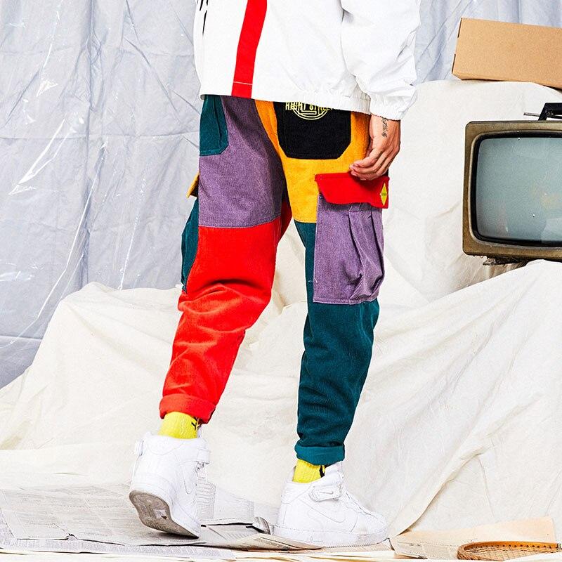 Hip Hip Pantalon Vintage Couleur Bloc Patchwork Velours Cargo pantalon de harem Streetwear Harajuku survêtement Coton Ouaté pantalon en coton 2019 - 6