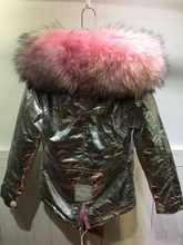 New 2016 Winter Coats Women Jackets Real Large Raccoon Fur Collar Thick Ladies Down & Parkas Silver color