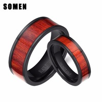 2Pcs 6MM & 8MM Black Titanium Rings His and Hers Wedding Ring Sets Women Men Matching Wedding Bands with Mahogany Wood Inlay