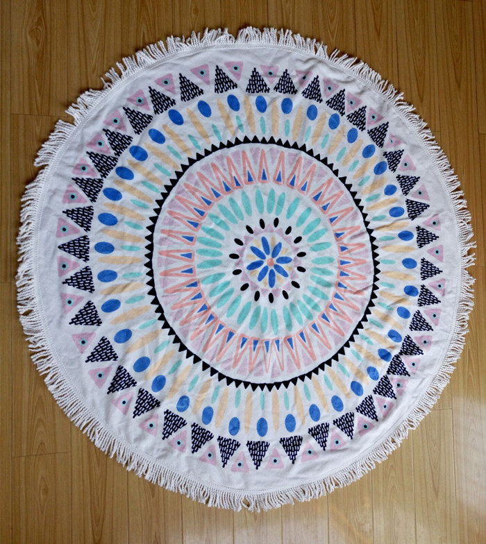 NY Shop Free shipping 2016 New Summer Large Printed Round Beach Towels With Tassel Circle Children Kids Women Green Circle Beach Towel