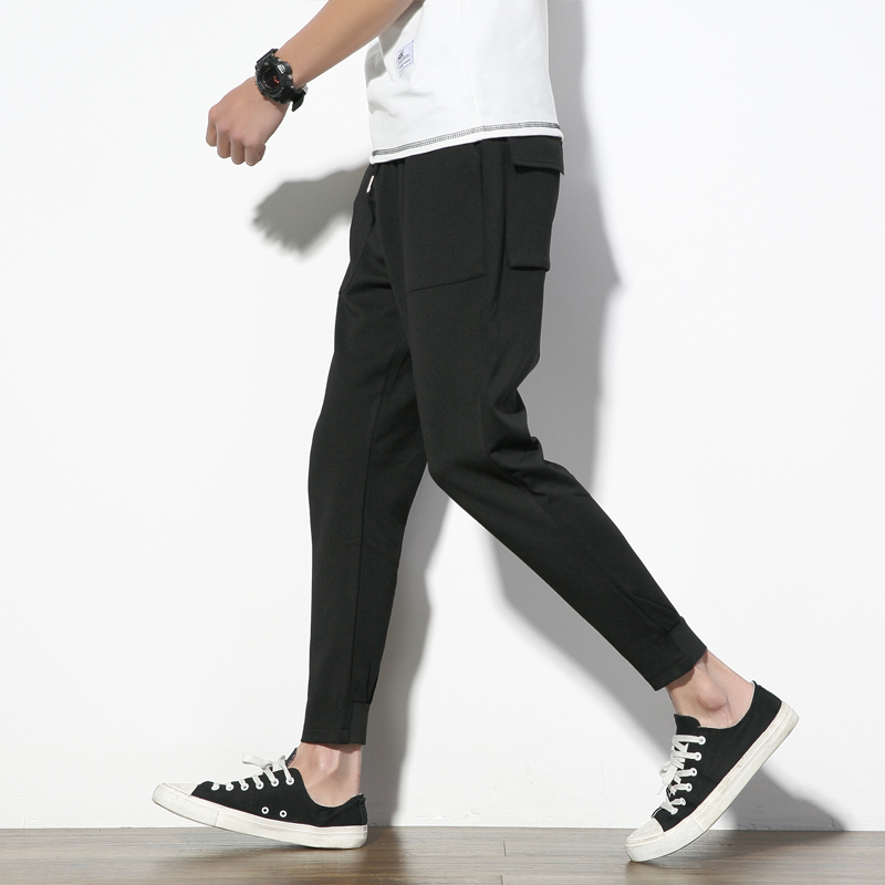 Casual-Pants Summer New And 9-Points Fold-Feet Solid-Color