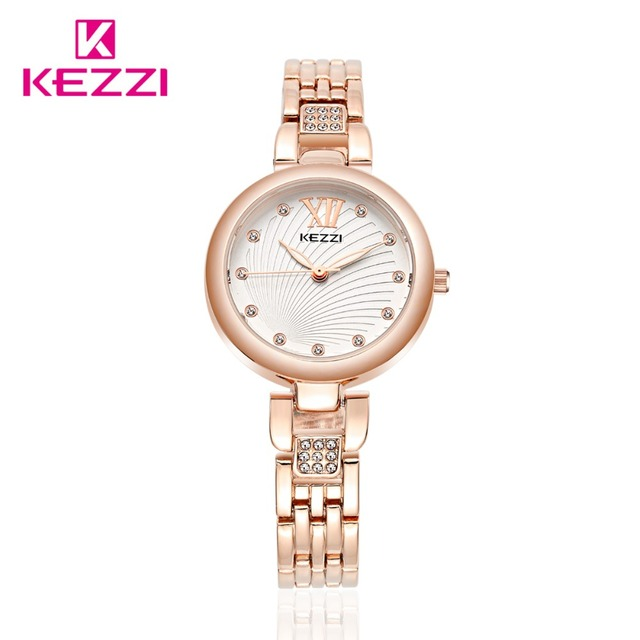 Известный Бренд KEZZI Полный Нержавеющей Дамы Платье Наручные Часы Моды Рим Масштаб Водонепроницаемый Кварцевые Часы Браслет Часы Для Женщин