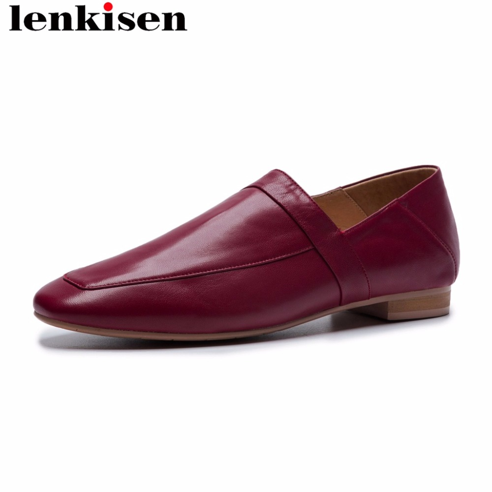 Lenkisen european style low heels full grain leather retro square toe solid slip on comfortable lazy