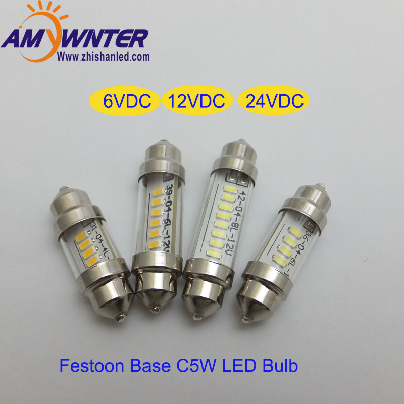 Auto C5W 6V led lamp Festoon Base Interior Light Lamp DC12V  3136mm 39 42mm 24V LED Reading light bulbs for cars