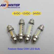 Auto C5W 6V led lamp  Car Festoon Base Interior Light Lamp DC12V 31mm 36mm 39mm 42mm 24V LED Reading light bulbs for cars