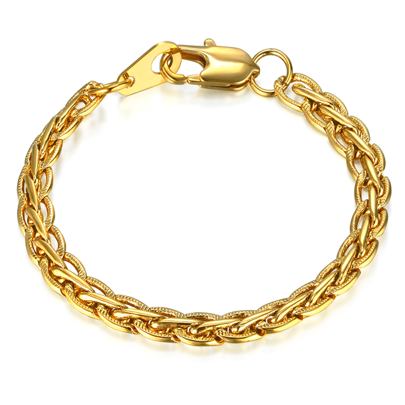 Bracelet Women Men Jewelry Wholesale Braslet 2017 Gold Color Embossed Flat Chain Link Bracelet Dropshipping Pulseiras