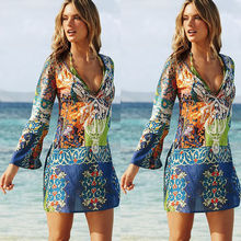 купить Hot 2019 Fashion Cover Up Feather V-Neck Long Sleeve Women Fashion Sexy Print Beachwear Swimwear Bikini Beach Wear Ladies New дешево